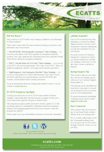ECATTS SPRING NEWSLETTER 2013